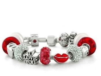 Hot Kiss Valentines Bead Bracelet 925 Silver Charm Bracelet $199