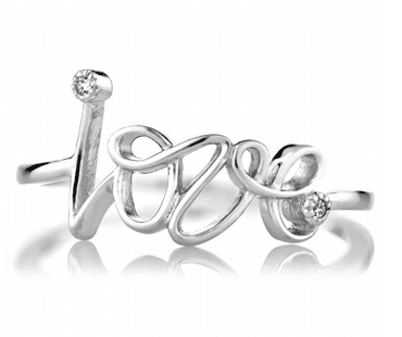 Joelles Petite CZ and Cursive Love Promise Ring $34.99