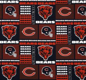Chicago Bears Patchwork Blue Orange   Discount Designer Fabric   Fabric.com