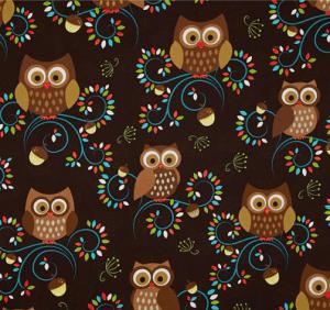 Michael Miller Norwegian Woods Happy Hooters Owls Forest Brown   Discount Designer Fabric   Fabric.com