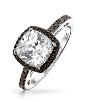Vintage Black Chocolate CZ Cushion Cut 925 Silver Engagement Ring only $34.99.