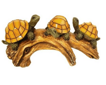 Turtles on a Log Solar Powered Outdoor LED Light
