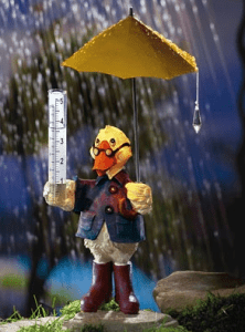Solar Lighted Duck Rain Gauge Lawn Figurine