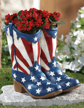 Patriotic Cowboy Boots July 4th Garden Planter