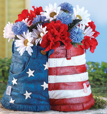 Patriotic Cutoff Jeans Novelty Garden Planter