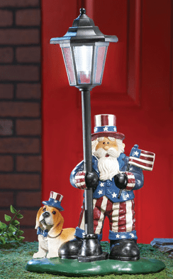 Patriotic Uncle Sam Lamp Post Solar Garden Figurine