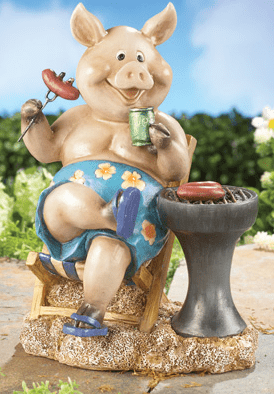 Pigging Out Summer Barbecue Grilling Pig Garden Statue