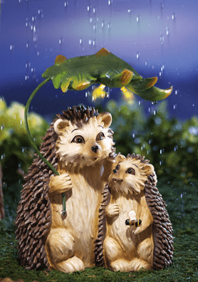 Rainy Day Hedgehogs Solar Lighted Garden Sculpture