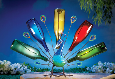 Solar Garden Peacock Wine Bottle Tree