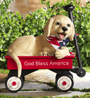 Peedy Puppy 4th of July Decoration Garden Statue