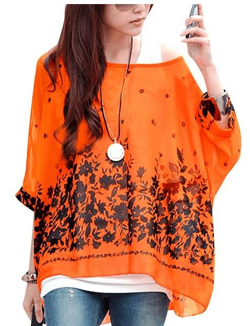 Allegra K Lady Batwing Sleeve Floral Prints Semi Sheer Chiffon Oversize Shirt at Amazon Women's Clothing store  Blouses