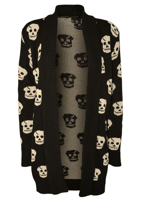 Forever Women s Skull Print Knitted Open Cardigan  XL 14 16  Black  at Amazon Women's Clothing store