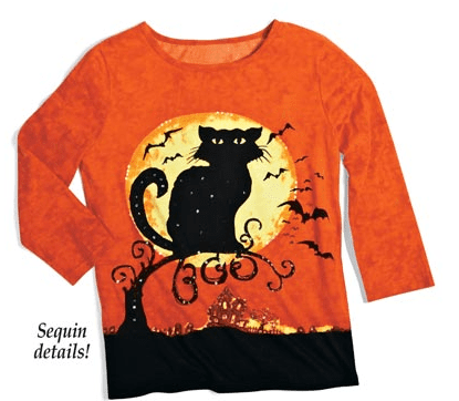 Halloween Black Cat and Moon with 3 4 Sleeves Scoopneck Top from Collections Etc.