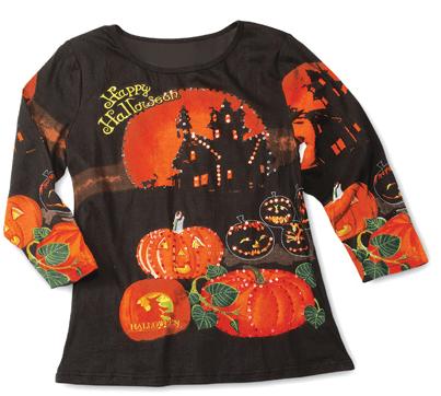 Happy Halloween 3 4 Sleeves Scoopneck Sequin Top from Collections Etc.