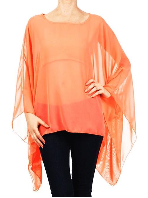 Modern Kiwi Solid Sheer Chiffon Caftan Poncho Tunic Top Neon Orange One Size