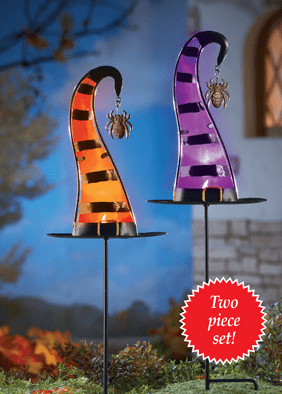 Set of 2 Halloween Witch Hat Candle Holder Garden Stakes