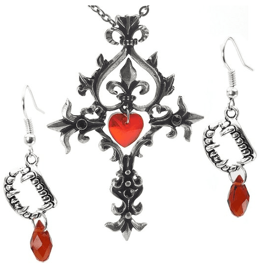 DaisyJewel Gothic Red Heart Pewter Cross Necklace And Drop Earrings