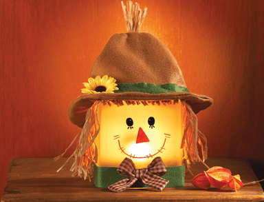 Harvest Country Scarecrow on Frosted Glass Block from Collections Etc.