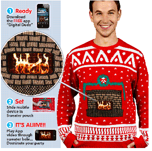 Digital Dudz Crackling Fireplace Knit Ugly Christmas Sweater