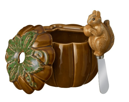 Grasslands Road Home Again Pumpkin Dip Bowl with Squirrel Spreader Set