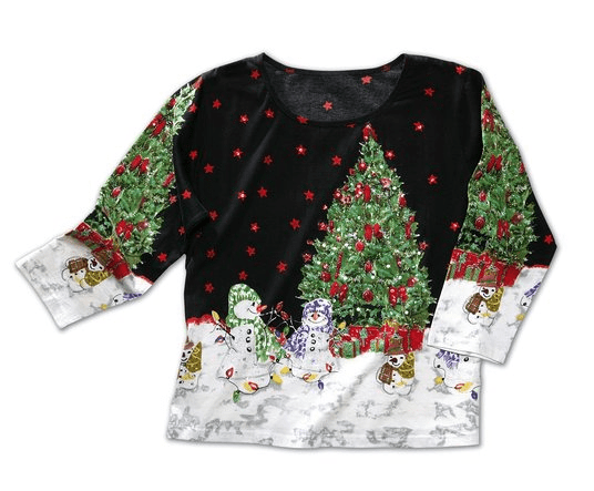 Christmas Tree Snowman Holiday Sequin Top