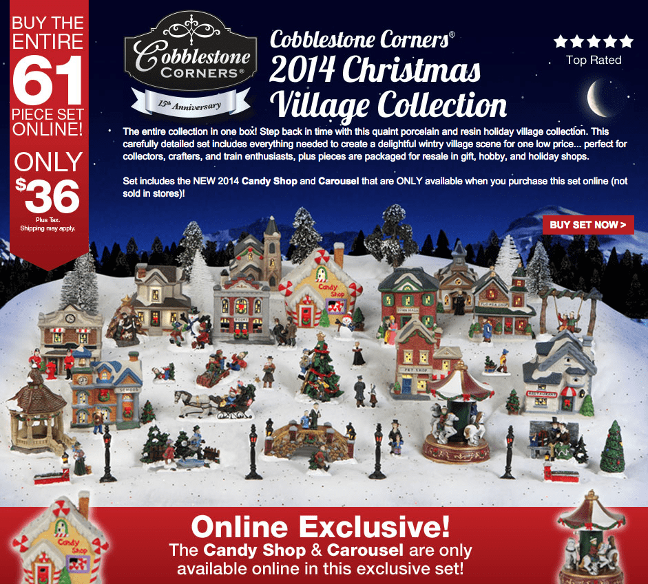 Dollar Tree  Inc.  Collectible Christmas Villages Cobblestone Corners