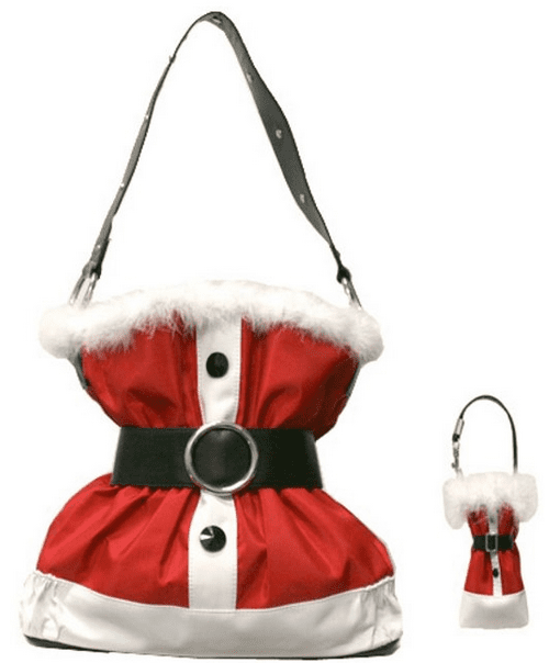 Santa Claus Suit Christmas Handbag Purse with Matching Cell Phone Holder