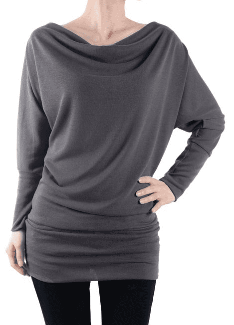 Womens Long Sleeve Basic Cowell Neck Tunic Top