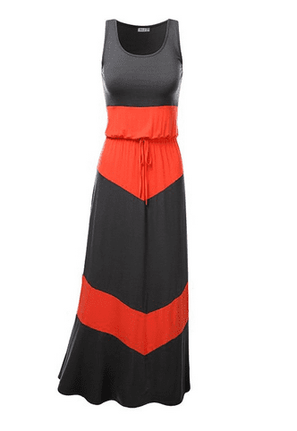Color Blocked Jersey Long Maxi Dress