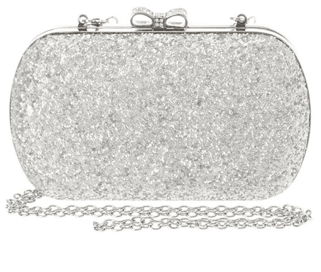 Silver Glitter Clutch with Rhinestone Bow Closure
