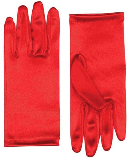 short-red-satin-gloves
